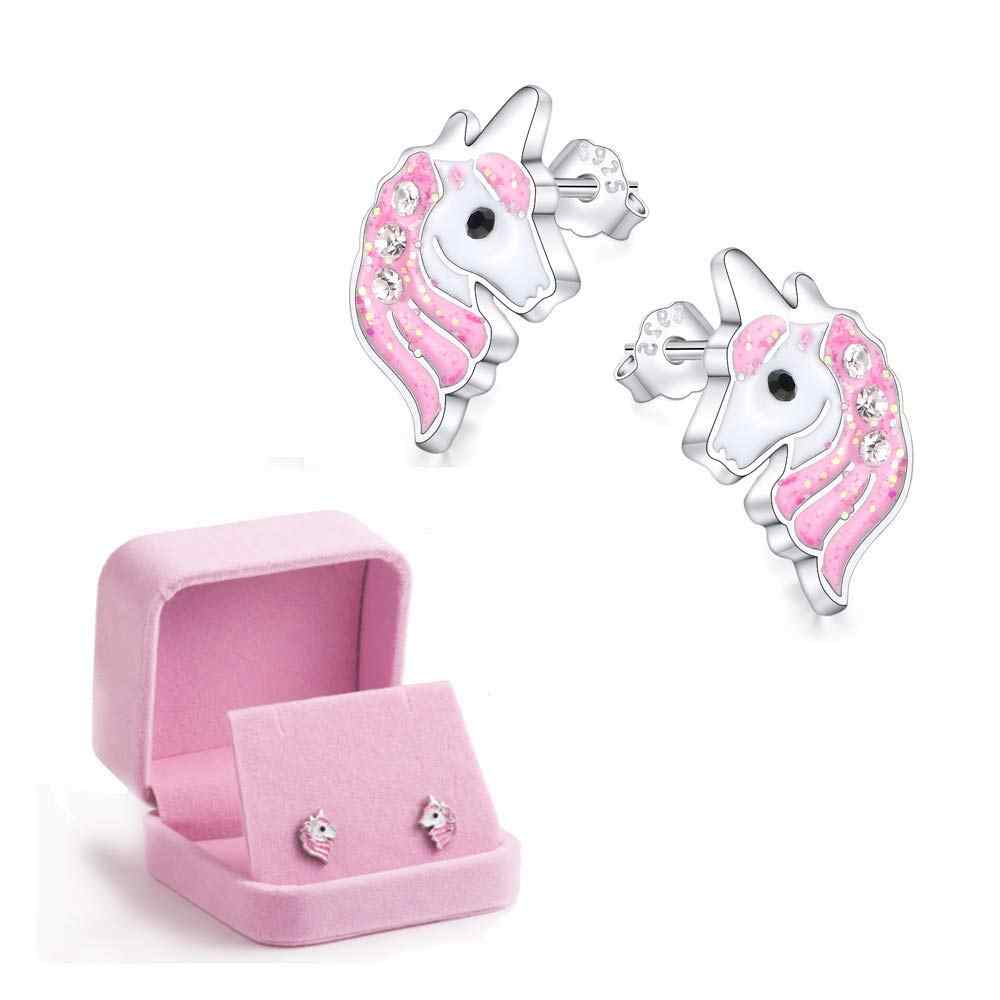 Pink Unicorn Earrings Glitter Enamel for Women girls Cute Animal Horse Stud Earrings Jewelry oorbellen brinco feminino gift case