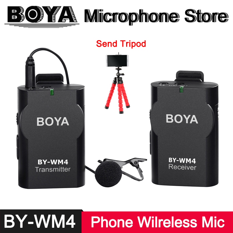 BOYA BY WM4 font b Smartphone b font Wireless Microphone for iPhone X 8 7 6