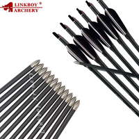 Linkboy Archery 12Pcs ID4.2mm Spine600 30'' Carbon Arrow 3 Turkey Feather Pin Nocks 80gr Point Tips Recurve Bow Shooting