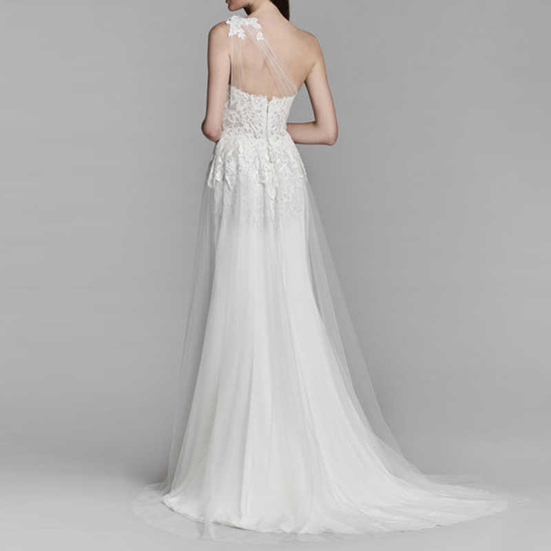 Lorie Sexy Vestido De Novia Boho Lado Partido Blanco Apliques De Vestido De Novia Encaje Un Hombro Vestido De Boda De Princesa Envío Gratis 2019