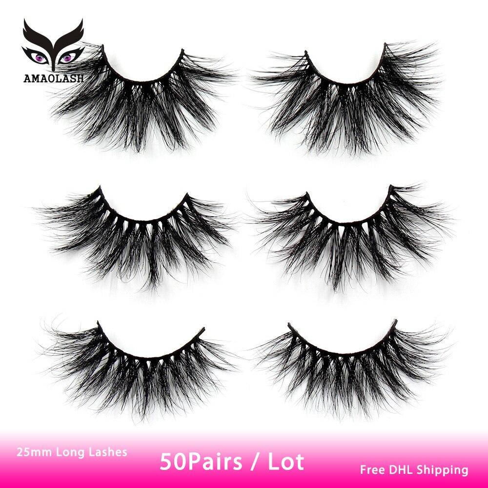 AMAOLASH 50 Pairs lot 25mm Eyelashes 3D Mink False Eyelashes Natural Long Lashes Fluffy Crisscross Eyelash