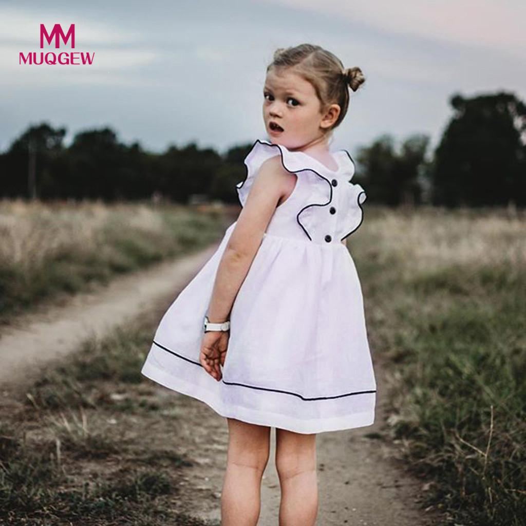 30c7432476613 MUQGEW Fashion Toddler Kids Baby Girls Fly Sleeve Party Princess Dresses  Solid White Dress Clothes Vestidos 2019 Spring 1Y-5Y