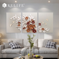 3 Panel Combined Modular Picture Flower Wall Decorations Living Room Home Decor Wall Painting