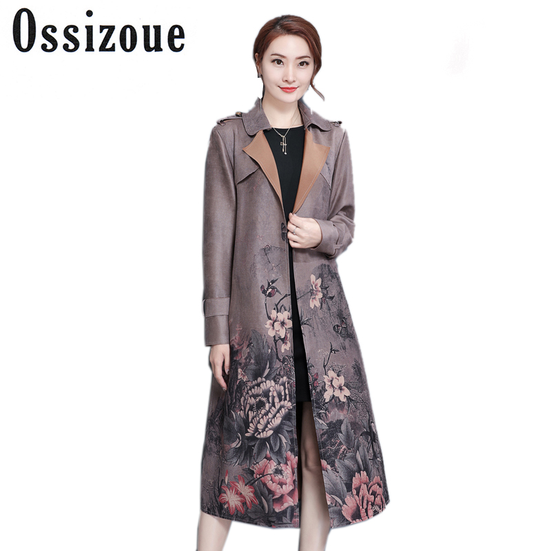 Women 2018 New Spring Autumn Clothing printed Floral Lady Long Windbreak suede Vintage Slim Women   Trench   Coat With Belt outwear