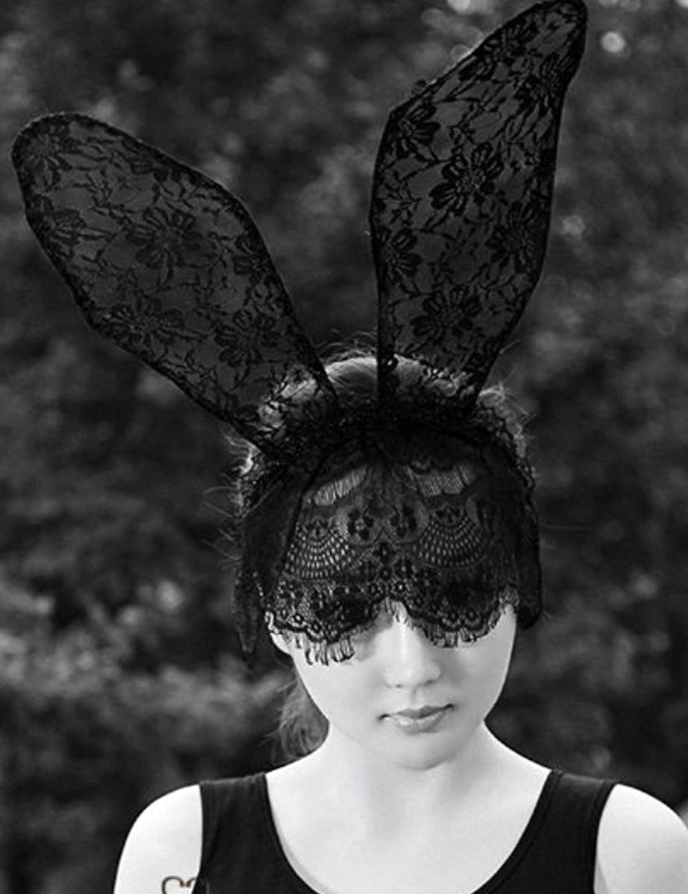 fashion women girl hair bands lace rabbit bunny ears veil black eye mask halloween party headwear - Black Eye Mask Halloween