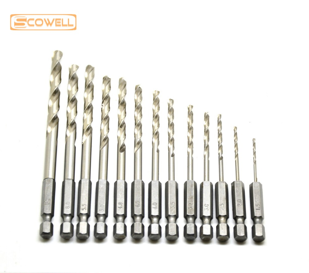13pcs/lot HSS High Speed Steel Drill Bit Set 1/4 Hex Shank 1.5-6.5mm Free Shipping HSS Twist Drill Bits Set for Power tools free shipping 1pc hss 6542 made cnc full grinded hss taper shank twist drill bit 18 5mm 223mm for steel