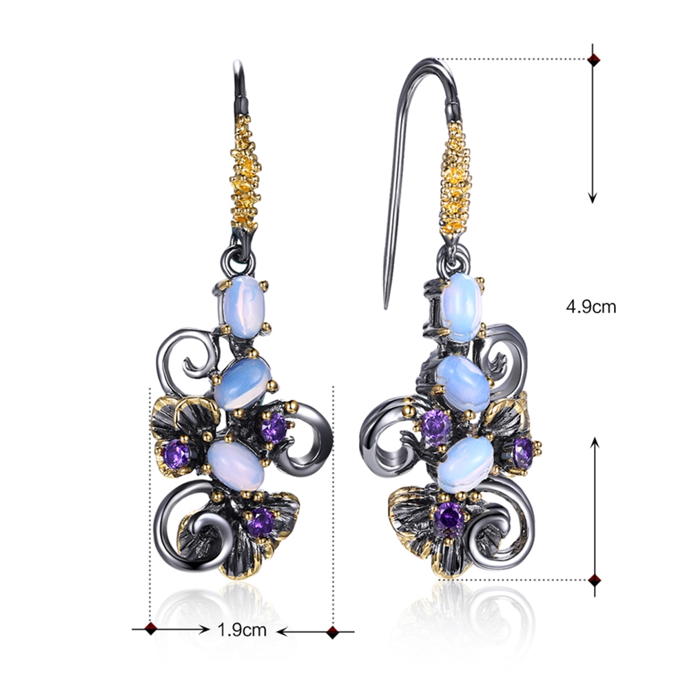 DreamCarnival1989 Recommend Beautiful Flower Earings Gift Women Must Have Vintage Design Dangle Blue Opal Stones Jewelry WE3857