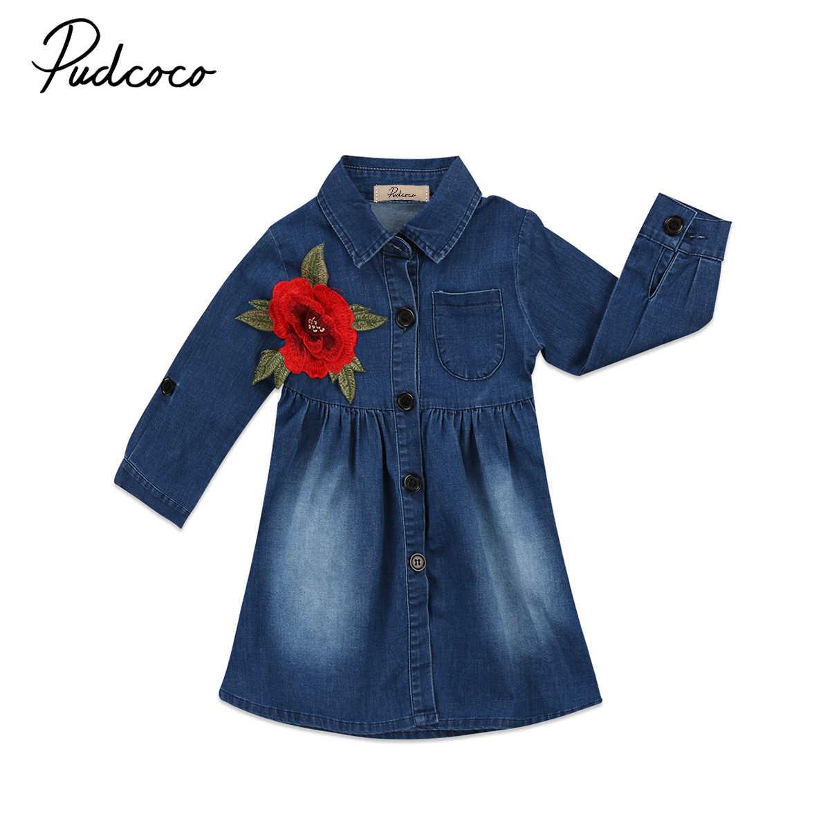 d9480a95fef 2018 Cute Infant Toddler Kid Baby Girls Denim Flower Dress Babies Jeans  Princess Party Tutu Dresses