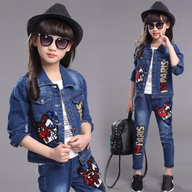 Children Girls Clothing Spring Autum Casual Set Baby Kids Embroidered Clothing Sets Denim jacket + Jeans pant 2-Piece Suit Sets children s clothing 2018 new girls spring denim clothes sets kids mesh dress suits personality suit baby child casual jackets