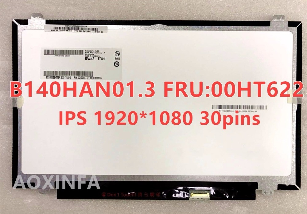 Original B140HAN01.3 FRU 00HT622 For Lenovo Special IPS Screen FHD 1920 * 1080 EDP 30 Pin