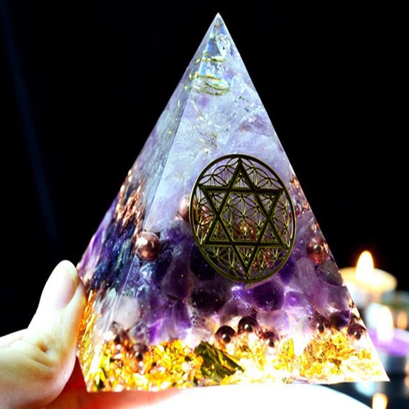 Reiki Orgonite Austrian Energy Crystal Rune Pyramid Family Office Home  Transfer Decoration Chakra Jewelry Pyramid Resin Process