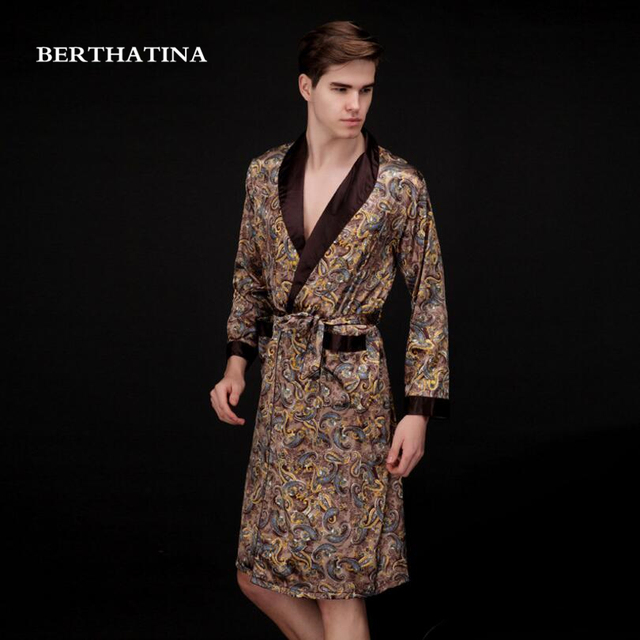 Luxury Men Robe 2018NEW Couple Bathrobe Brand Faux Silk Robes Long Home  Clothing Male Sleepwear Robe XXL 5 Colors Summer Style a13482cdc