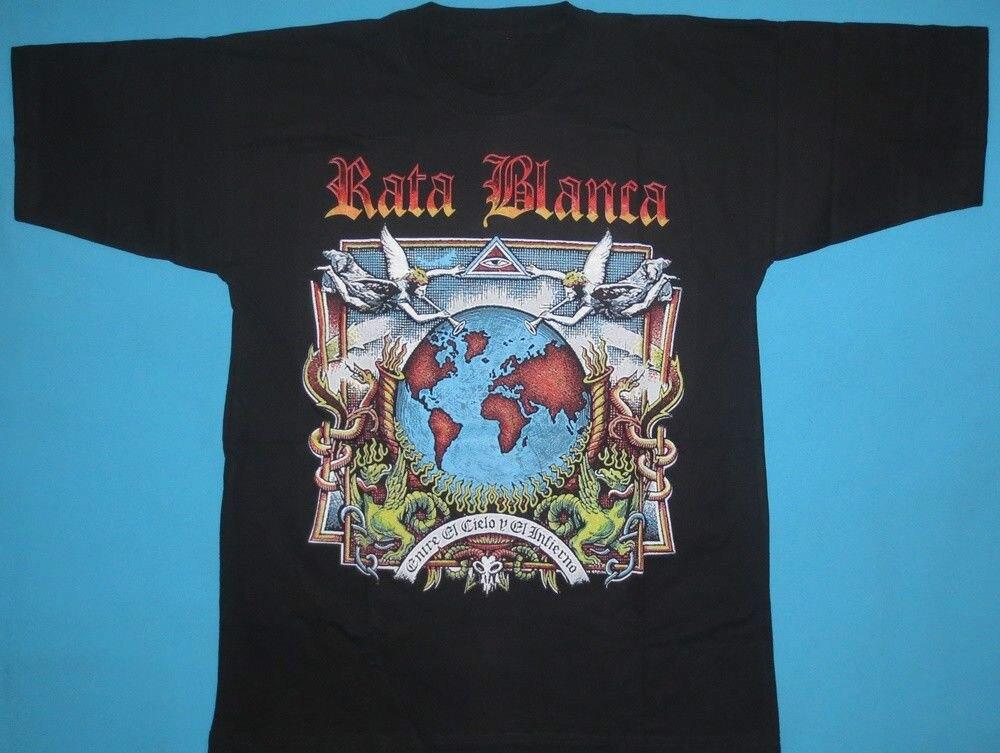 Rata Blanca - Entre el Cielo y el Infierno T-shirt NEW Hip-Hop Simple Splicing Tee Tops Shirt T-Shirt Men Summer Slim