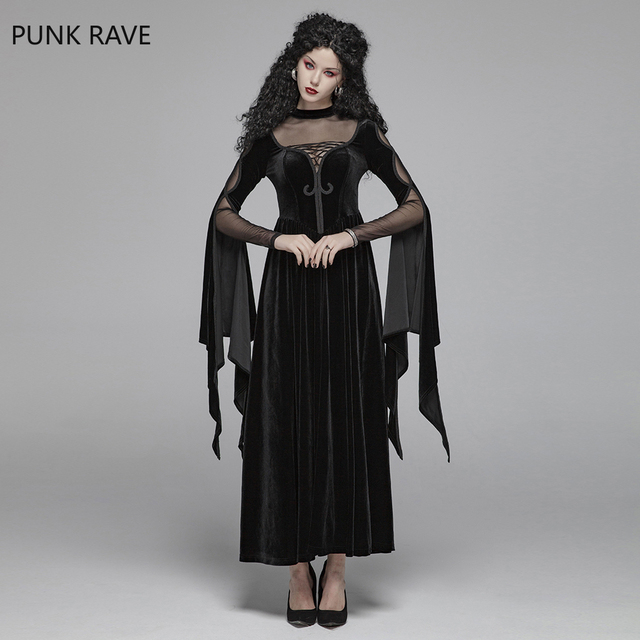 PUNK RAVE Women Gothic Black Witch Long Dress Steampunk Gorgeous Victorian Evening Party Dress Hollow Out Sexy Lace Dress