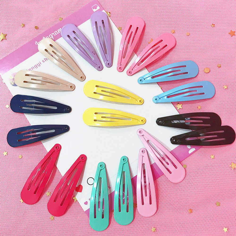 Colorful Fashion Snap Hair Clip Geometry Cute BB Hairpin Metal Barrette Hairgrip For Women Girls Headwear Sweet Hair Accessories