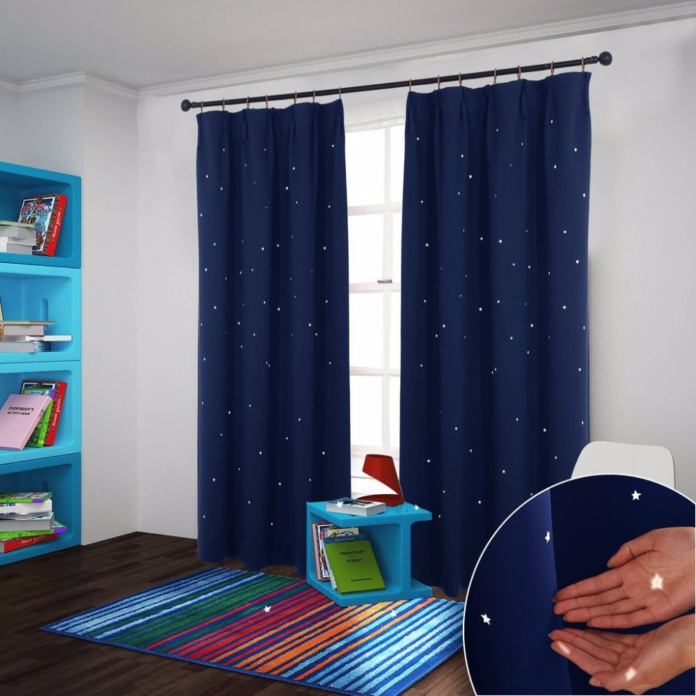 NICETOWN Starry Night Sleep Enhancing Cosmic Themed Twinkle Blackout  Curtains For Baby Nursery, Draft Preventing Curtain Panel