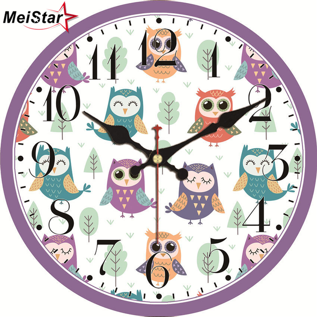 Meistar Vintage Clocks Cartoon Owl Design Silent Living Room Home Decor For Children S Study Wall