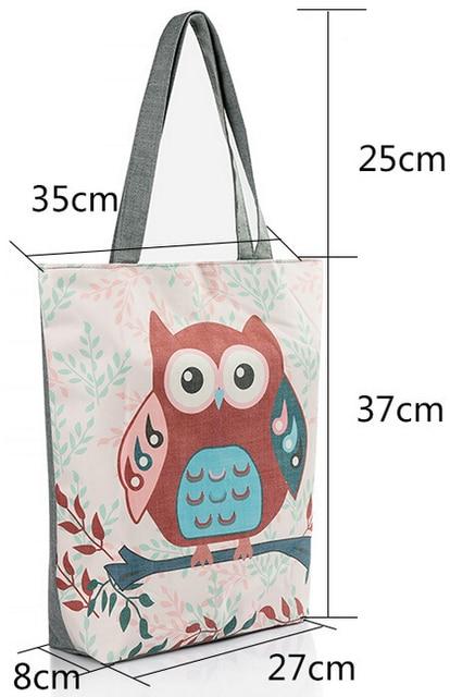 Cartoon Owl Printed Casual Tote