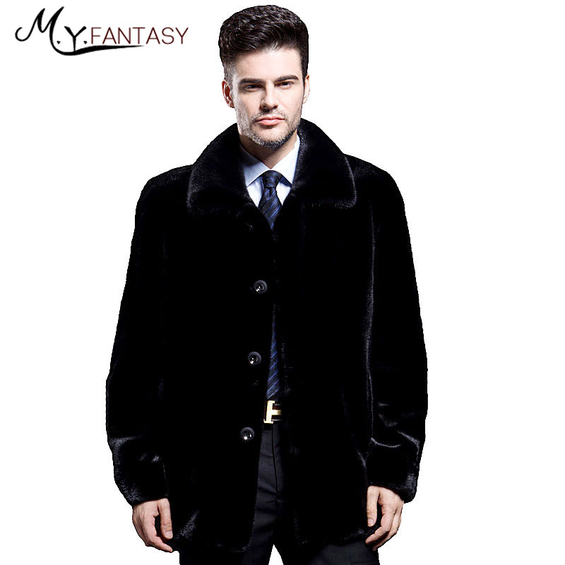 Stand-Suit Mink-Coat Real-Fur-Jacket Turn-Down Winter Warm Short Man Shuba Collar Long