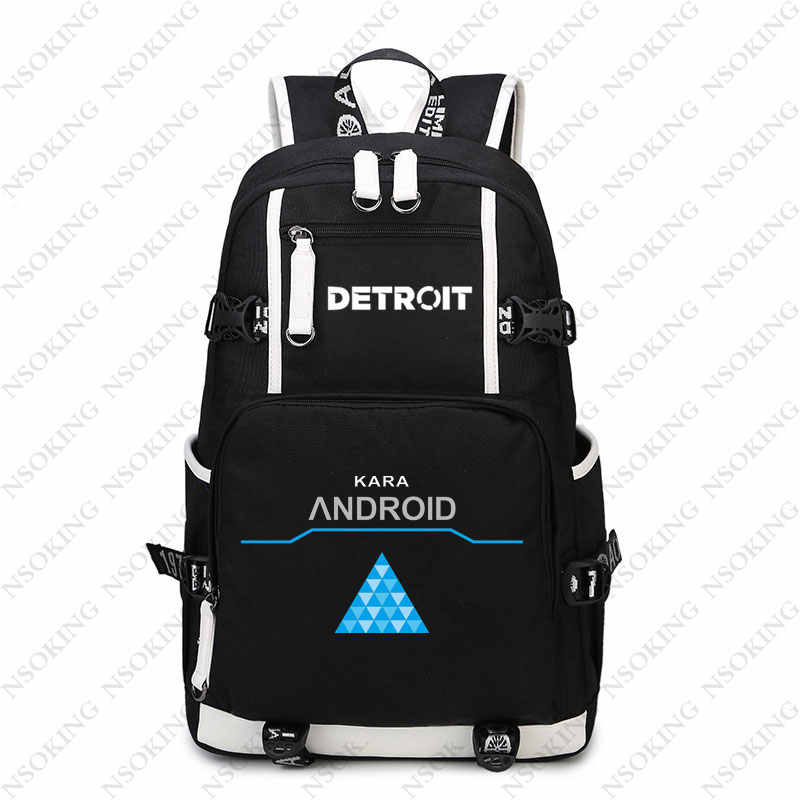 bc34c5d161 ... Hot Game Detroit  Become Human Backpack Cosplay Canvas Bag Luminous  Schoolbag Travel Bags ...
