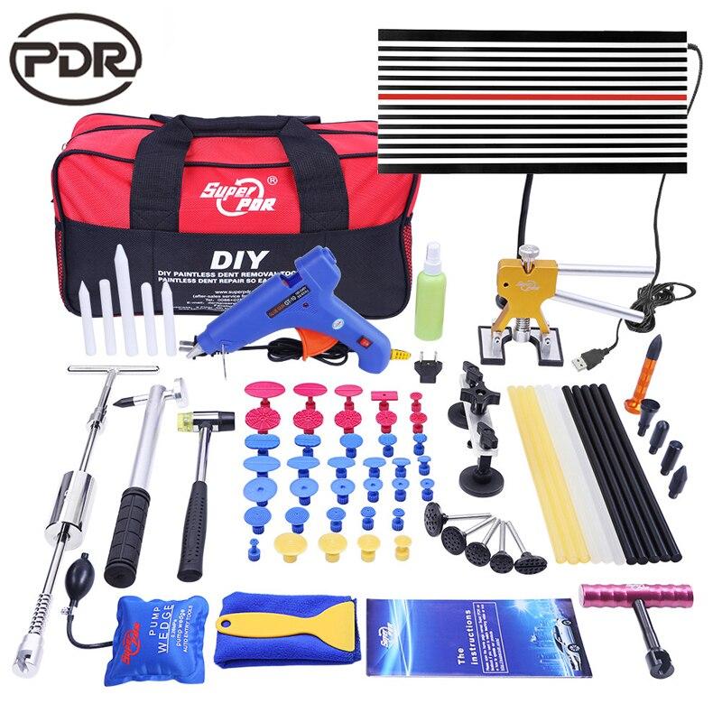 Paintless Auto Dent Removal Tool Set per la Riparazione Dent Puller Cursore Martello Lampada a LED a Bordo della Pompa del Cuneo Paintless Dent