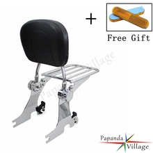 Papanda Adjustable Sissy Bar Rear Backrest Cushion Pad Motorcycle Luggage Rack for Harley Sportster XL1200 XL883 1994-2003 black detachable rear passenger sissy bar backrest luggage rack with cushion pad for harley sportster xl1200 xl883 2004 2017