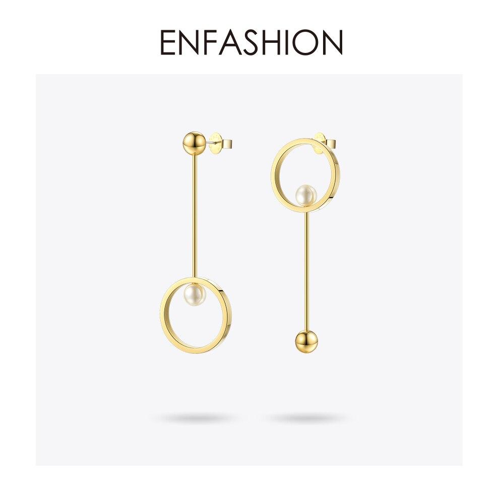Enfashion Imitação de Pérolas e Brincos Pendurados bola cor de Rosa de Ouro Dot Brincos Brincos Para As Mulheres Jóias Brinco Longo