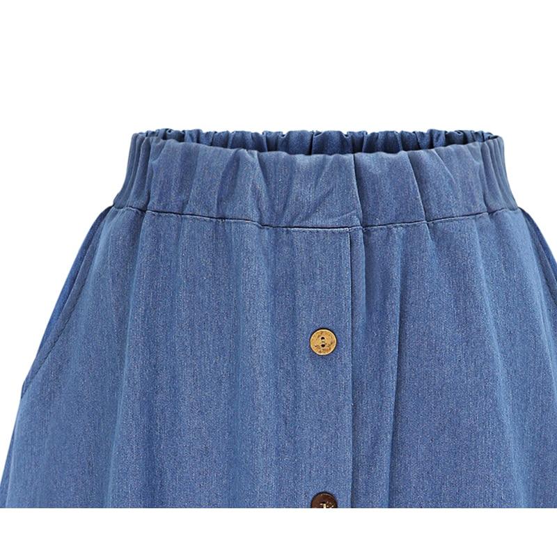 2018 Fashion Korean Preppy Style Denim Women Solid Color Long Skirt Nature Waist Female Big Hem Casual Button Jean Skirt B81811A