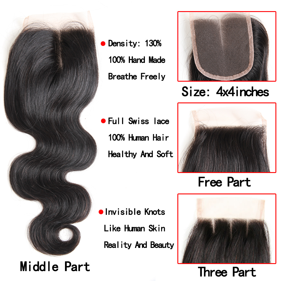 4 bundles with frontal closure body wave