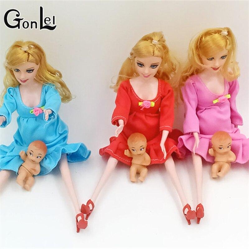 Gonlei 2016 Новинка образования реального Беременная кукла Костюмы мама куклы у ребенка В ЖИВОТИКЕ для Барби