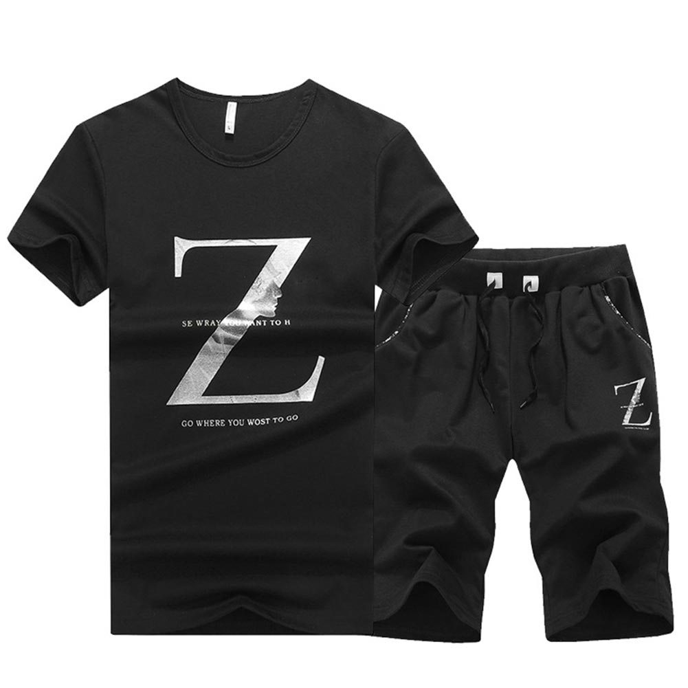 Honest Men T-shirt+shorts Set Summer Short Sleeve Base Letter Printed Daily Two-piece Sport Suit Round Collar Boys Holiday Slim Fit Cool In Summer And Warm In Winter