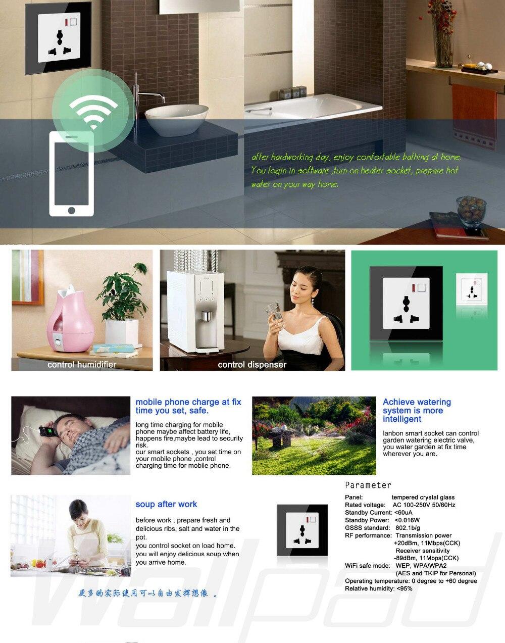 ②Wallpad blanco WiFi dimmer interruptor de luz EU UK 110 ~ 220 v 3 ...