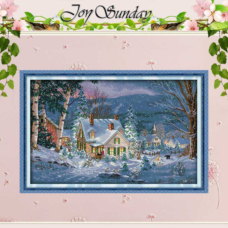 Snowy Night of Christmas räknade Cross Stitch Sets Scenery Cross Stitch 11CT 14CT Cross Stitch Kit Broderi Needlework
