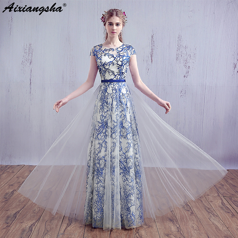 Scoop Neck Custom Made Plus Size A Line Gown Pattern Blue Lace