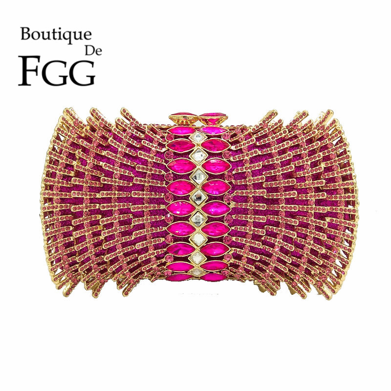 Boutique De FGG Hot Pink Fuchsia Diamond Rhinestones Hollow Out Women Crystal Bags Evening Purse Bridal Wedding Handbag Purse boutique de fgg hot pink fuchsia crystal diamond women evening purse minaudiere clutch bag bridal wedding clutches chain handbag