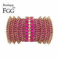 Boutique De FGG Hot Roze Fuchsia Diamond Steentjes Hol Vrouwen Kristal Zakken Avondtasje Bridal Bruiloft Purse