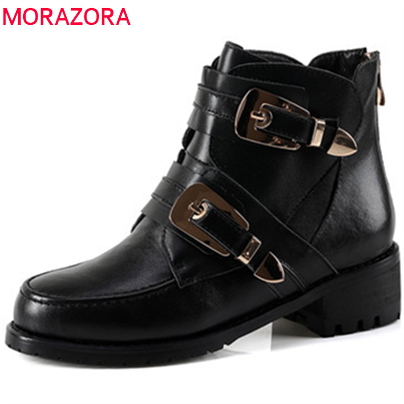 MORAZORA High quality womens boots genuine leather boots fashion punk med heels shoes platform ankle boots big size 34-44 big size 34 42 high quality genuine leather leisure low heels ankle boots fashion cowhide round toe platform women boots