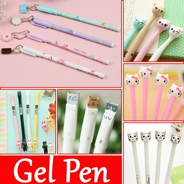 4 pcs/Lot Noir d'encre Doux Mignon Chat un stylo Canetas kawaii BONJOUR KITTY stylos pour les fournitures scolaires papeterie magasin Gel stylos 04067