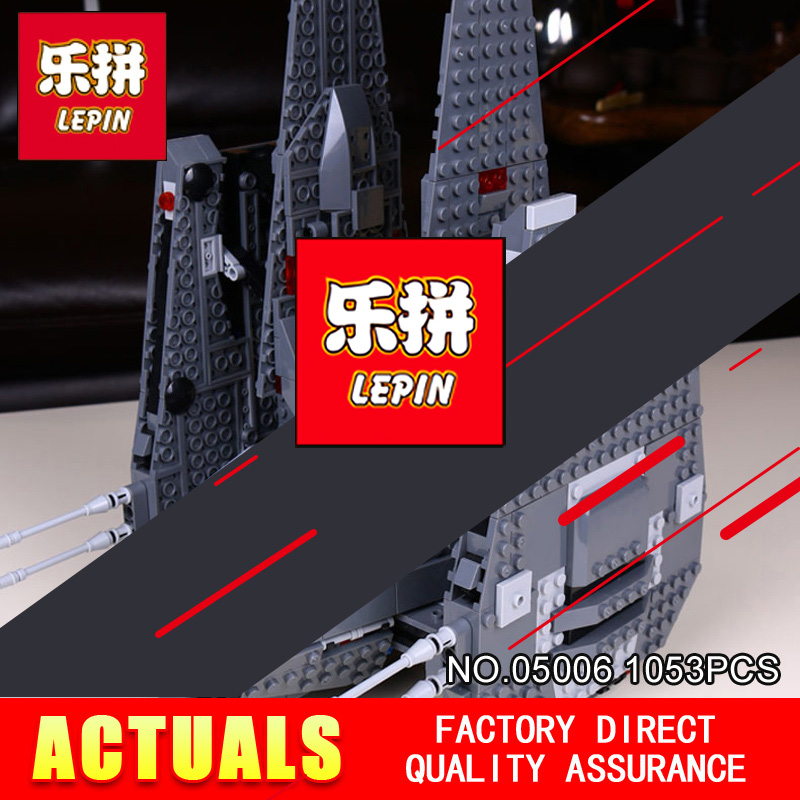 LEPIN 05006 Star1053Pcs Toys Wars The Force Awakens Kylo Ren Command Shuttle Model Building Kits Blocks Bricks 75104 Boy Gift color metal 3d puzzle star wars millennium falcon for adult 2016 new batman flying wing kylo ren shuttle 3d nano jigsaw puzzles