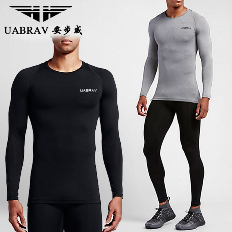 UABRAV 2017 Men Exercise T-shirt Compression Shirt Slim Fit Breathable Men Fitness Tights Bodybuilding Workout Trainning T-shirt