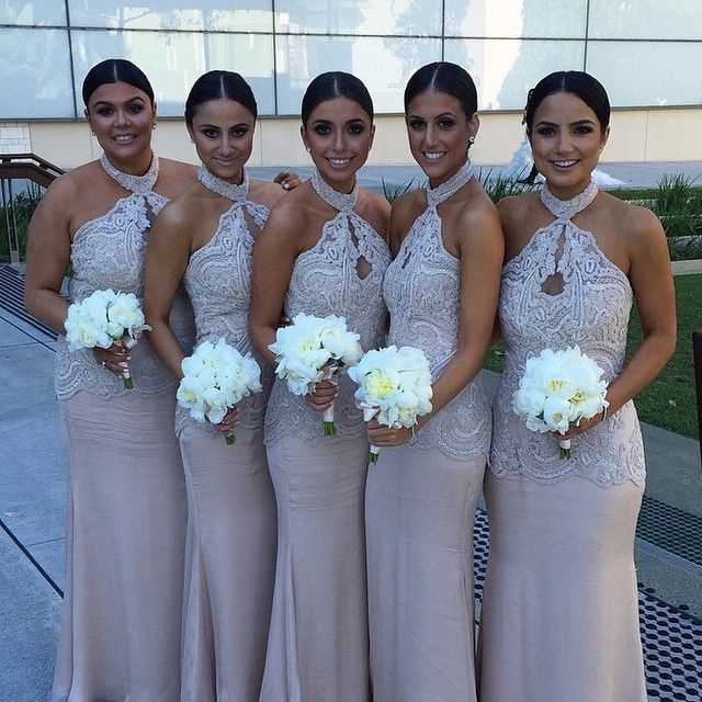 Vestido de Madrinha 2015 Top Lace Sparkly Halter Bridesmaid Dresses Light  Champagne Mermaid Formal Prom Gown 6aa67f790ae8