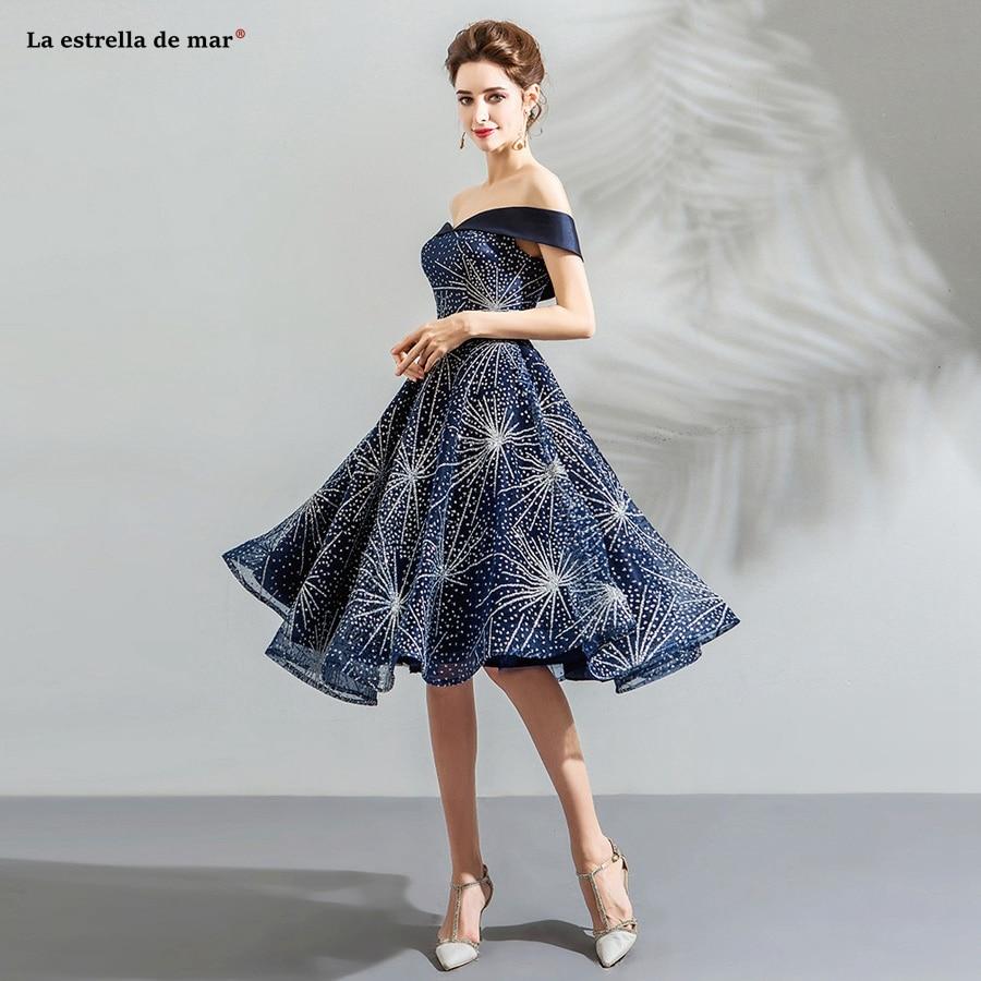 Vestidos De Coctel Elegantes 2019 Lace Sequined V-neck Short-sleeved Halter A Line Navy Blue Cocktail Dresses Tea Len Plus Size