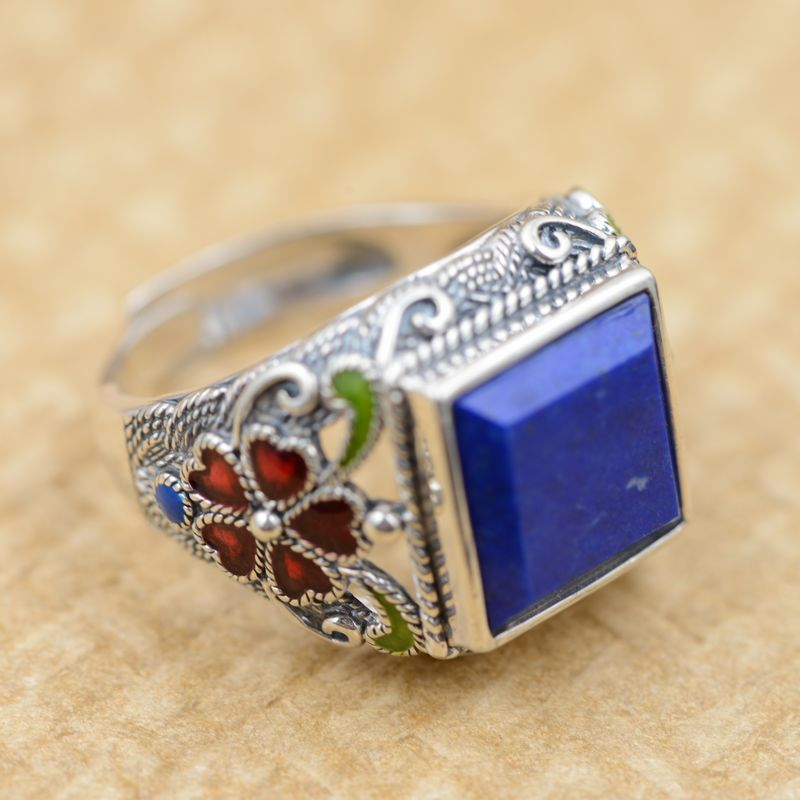 Wholesale silver inlaid Lapis S925 optimization natural stone square Gao Dashang Mens Bracelet цена