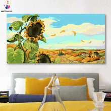 DIY colorings pictures by numbers with colors Blue sky white clouds sunflower picture drawing painting by numbers framed Home(China)