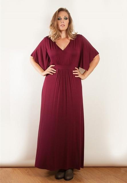 987891435d3 Women s Solid V-Neck 1 2 Sleeve Plus Size Evening Party Maxi Dress Plus Size  XL-5XL On Sale 304