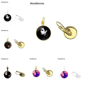 Mendittorosa joyería Vintage cabujón de vidrio bronce/plata/oro Clip pendientes de gancho con forma de gota para regalo de Navidad Michael Jackson