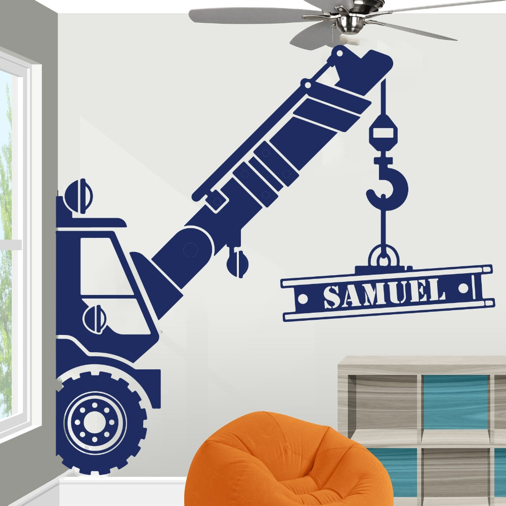 Bedroom DIGGERS Mural TRUCKS BOYS WALL STICKERS KIDS Decal boys CRANE