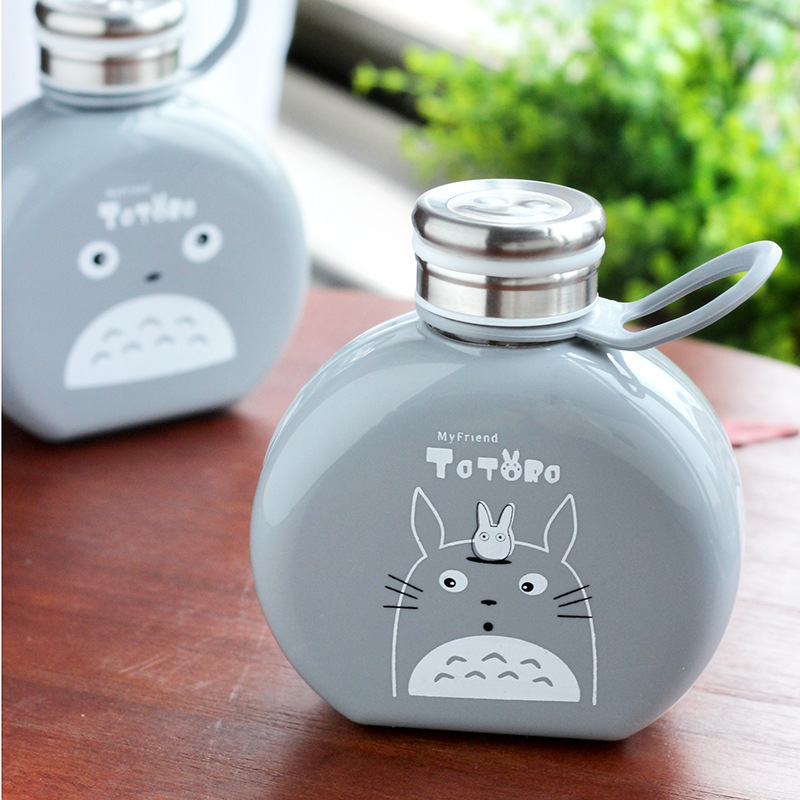 New Flat Paper Totoro Cartoon Water Bottle Cute Kettle Students coffee glass bottle Creative Portable Plastic Gifts