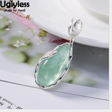 Uglyless 100% Real Solid 925 Sterling Silver Handmade Tulip Pendants for Women Water Drop Natural Fluorite Necklaces NO Chains