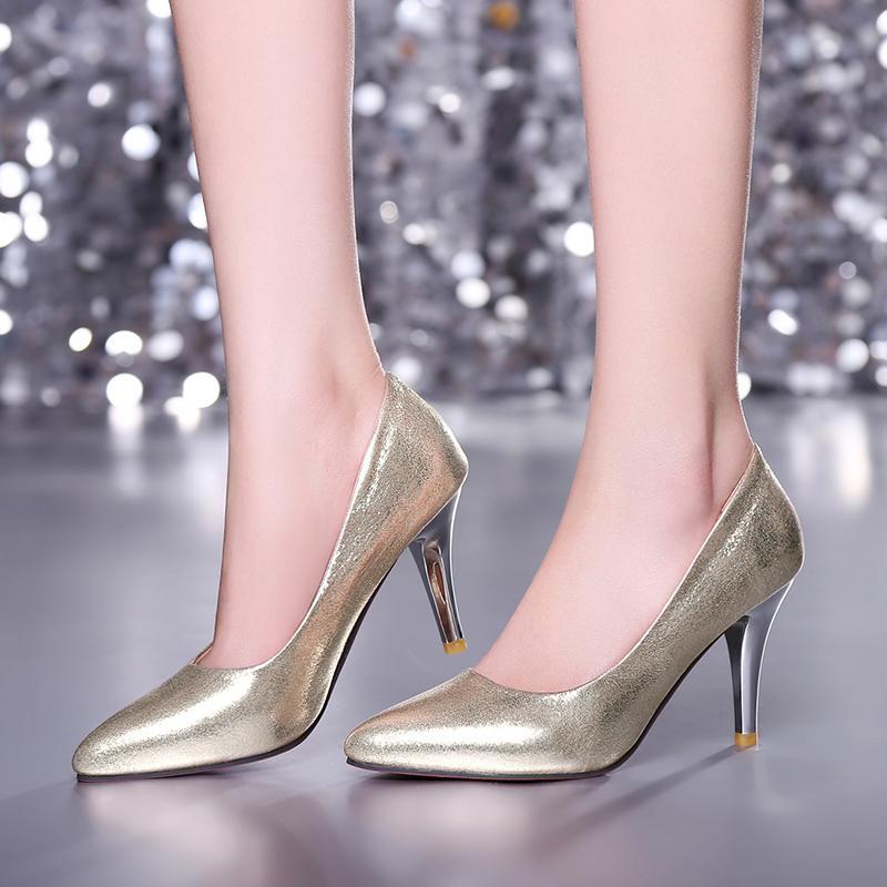 Mince Talons Pointu argent Or Pompes Nouvelle Slip 2018 Femmes Bout Femme Bleu Arrivée Haute on De Mode rouge Ruban Pu Chaussures or nxZ1v71